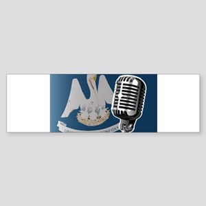 Louisiana Flag And Microphone Bumper Sticker