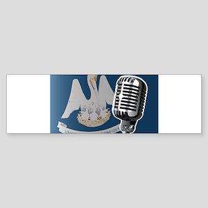 Louisiana Flag And Microphone Bumper Sticker