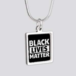 Black Lives Matter Silver Square Necklace
