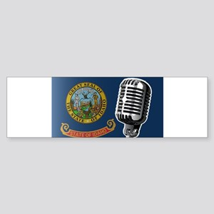 Oregon Flag And Microphone Bumper Sticker