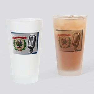 West Virginia Flag And Microphone Drinking Glass