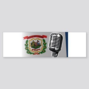 West Virginia Flag And Microphone Bumper Sticker