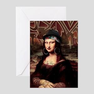 La Chola Mona Lisa Greeting Cards
