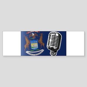 Michigan Flag And Microphone Bumper Sticker