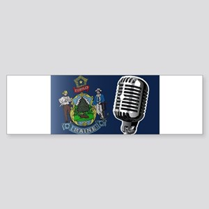 Maine Flag And Microphone Bumper Sticker