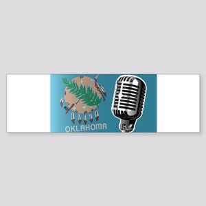 Oklahoma Flag And Microphone Bumper Sticker