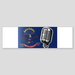 North Dakota Flag And Microphone Bumper Sticker