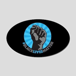 Black Lives Matter Fist 20x12 Oval Wall Decal