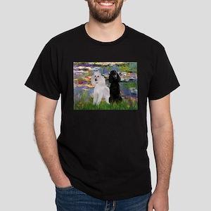 Lilies / 2 Poodles(b&w) Dark T-Shirt