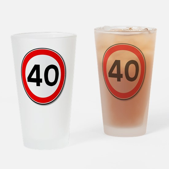 Funny Forty Drinking Glass