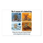 4 Seasons of Chained Dog Postcards (Package of 8)