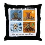 4 Seasons of Chained Dog Throw Pillow