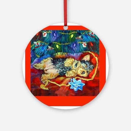 Yorkie Santa Dreams Ornament (Round)