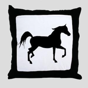 Arabian Horse Silhouette Throw Pillow
