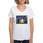Starry Night / Eng Spring Women's V-Neck T-Shirt