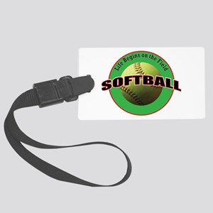 Life Begins Softball Large Luggage Tag