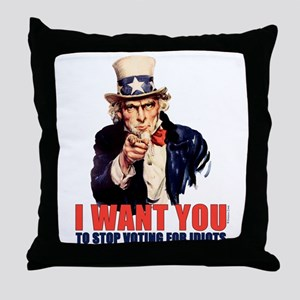 Stop Voting For Idiots Throw Pillow
