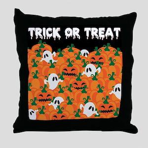 Halloween Haunted Pumpkin Patch Throw Pillow