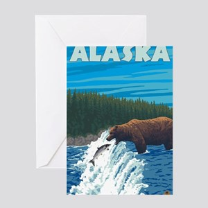 Alaska - Bear Fishing for Salmon Greeting Cards