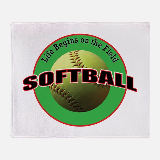 Life Begins Softball Throw Blanket