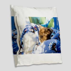 Kitty Blanket Burlap Throw Pillow