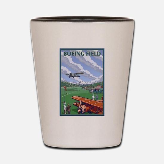 Seattle, WA - Boeing Field Shot Glass