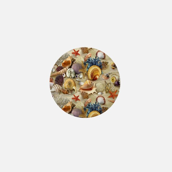 Seashells And Starfish Mini Button