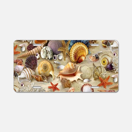 Seashells And Starfish Aluminum License Plate