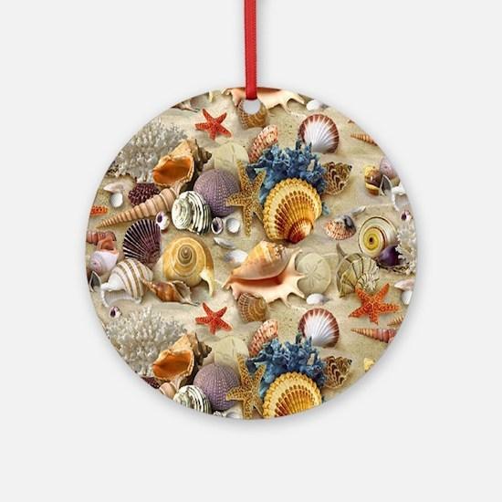 Seashells And Starfish Round Ornament
