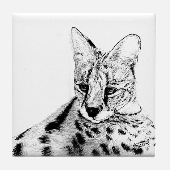 Serval reclined Tile Coaster