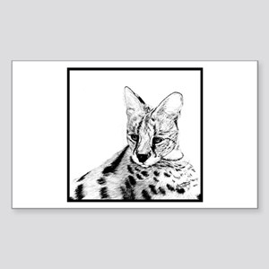 Serval reclined Rectangle Sticker