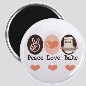 Peace Love Bake Bakers Baking Magnet