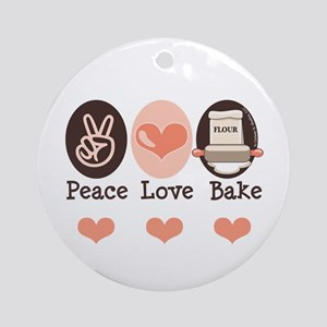 Peace Love Bake Bakers Baking Ornament (Round)
