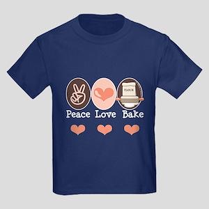 Peace Love Bake Bakers Baking Kids Dark T-Shirt