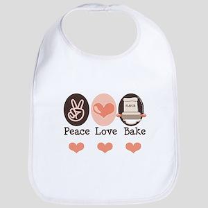 Peace Love Bake Bakers Baking Bib