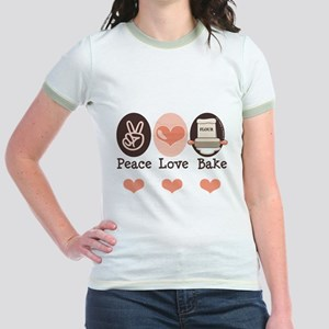 Peace Love Bake Bakers Baking Jr. Ringer T-Shirt