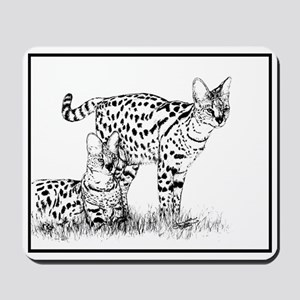 Two Servals in grass Mousepad