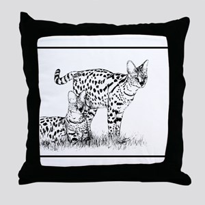 Two Servals in grass Throw Pillow