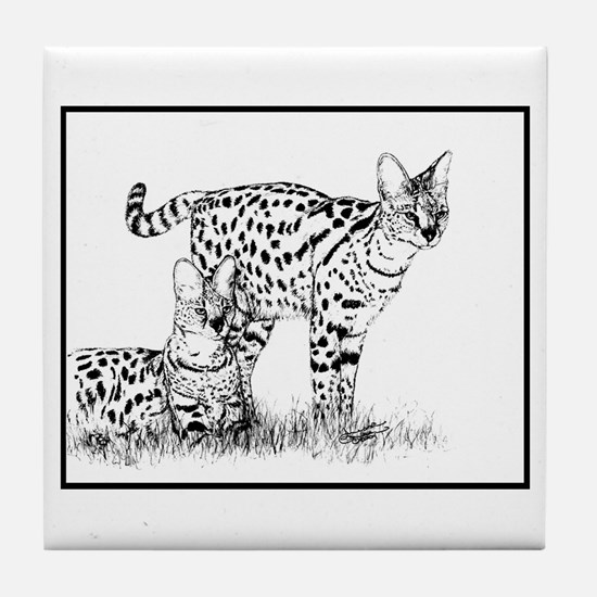 Two Servals in grass Tile Coaster