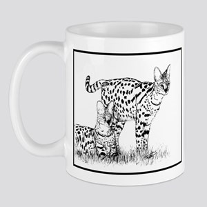 Two Servals in grass Mug