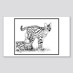 Two Servals in grass Rectangle Sticker