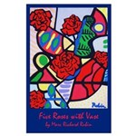 Large Poster<br>Five Roses with Vase