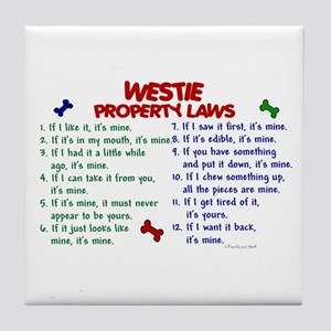Westie Property Laws 2 Tile Coaster