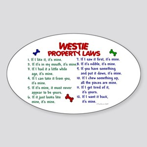 Westie Property Laws 2 Oval Sticker