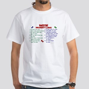 Westie Property Laws 2 White T-Shirt