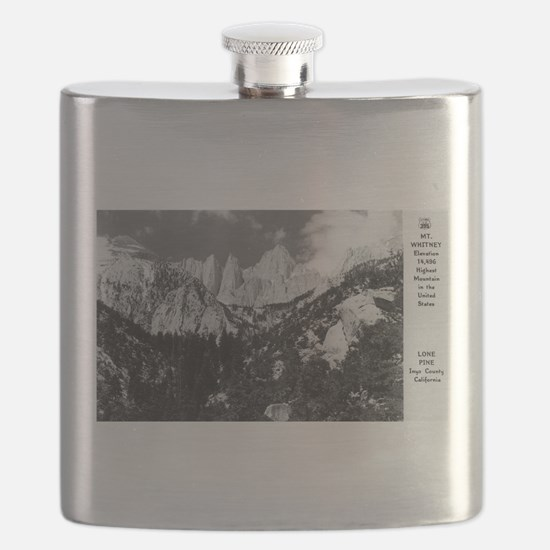 Lone Pine, CA - Mt. Whitney - Vintage Photo Flask
