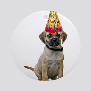 Puggle Birthday Round Ornament