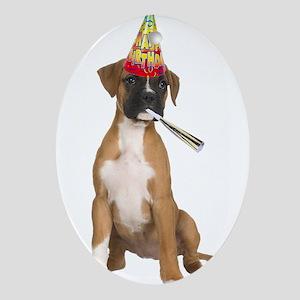 Boxer Birthday Oval Ornament