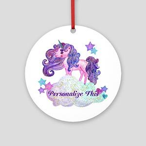 Watercolor Unicorn Monogram Round Ornament