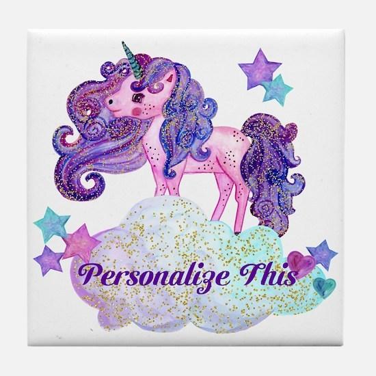 Watercolor Unicorn Monogram Tile Coaster